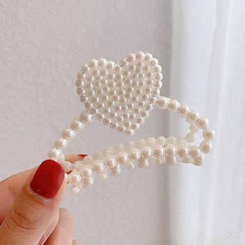 Pearl Hair Clip Heart D
