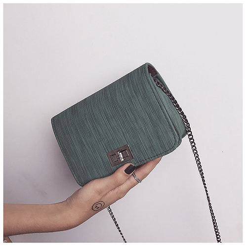 Fabric Pattern Turn Lock Small Bag G