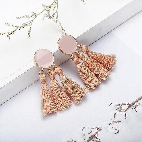 Long Dripping Tassel Earrings Peach