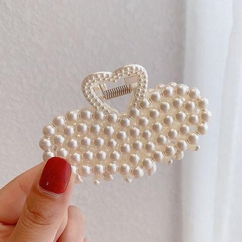 Pearl Hair Clip Heart B