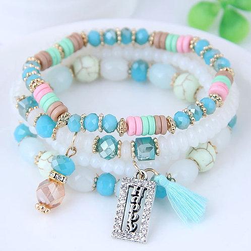 Crystal Beads Fashion Multi-layer Bracelet D