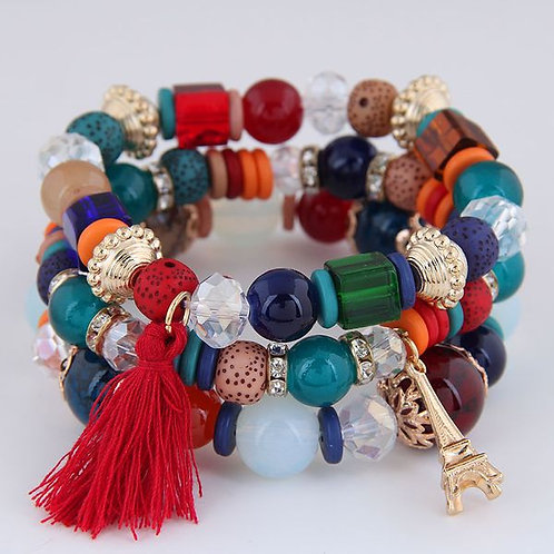 Tower Tassel Candy Beads Bracelet E