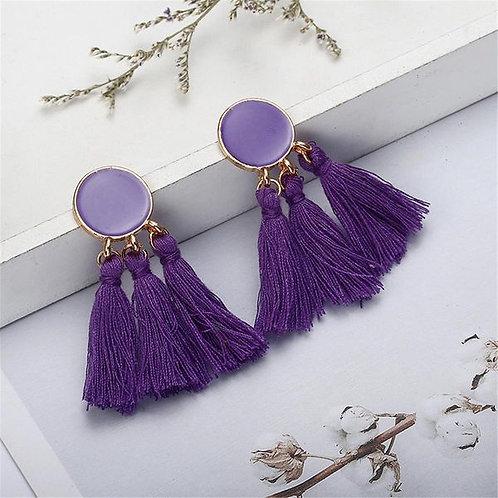 Long Dripping Tassel Earrings Purple