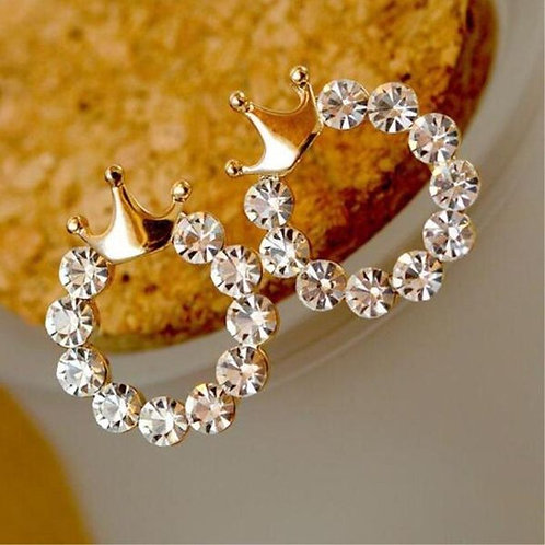 Round Rhinestone Crown Stud Earrings