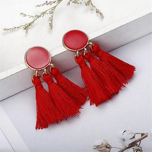 Long Dripping Tassel Earrings Red