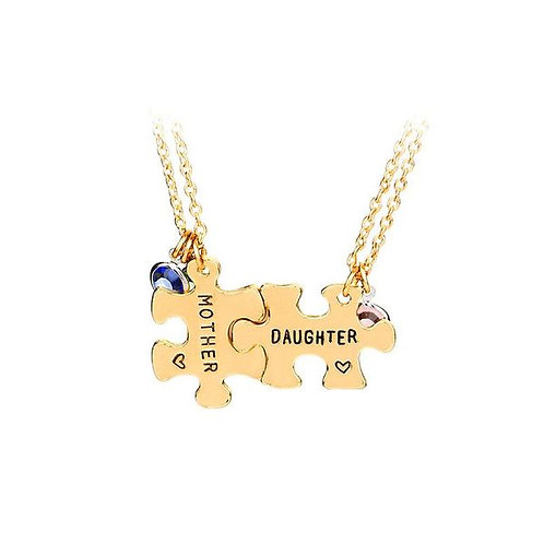 Mother and Daughter Two Puzzle Piece Necklace