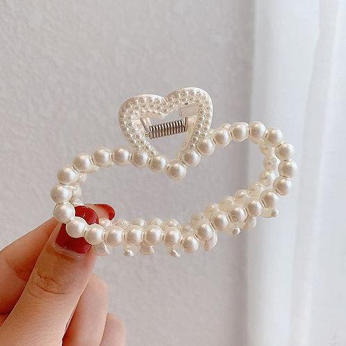 Pearl Hair Clip Heart C