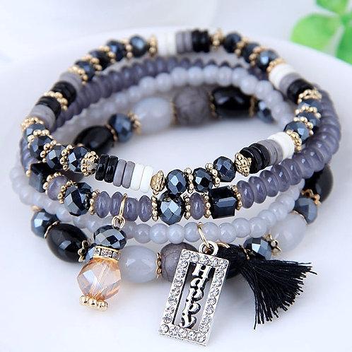 Crystal Beads Fashion Multi-layer Bracelet C