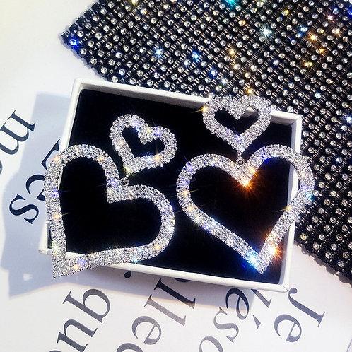 Needle Diamond Heart Earrings S