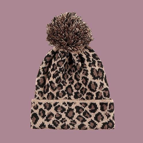 Leopard Fur Ball Warm Knit Woolen Hat C