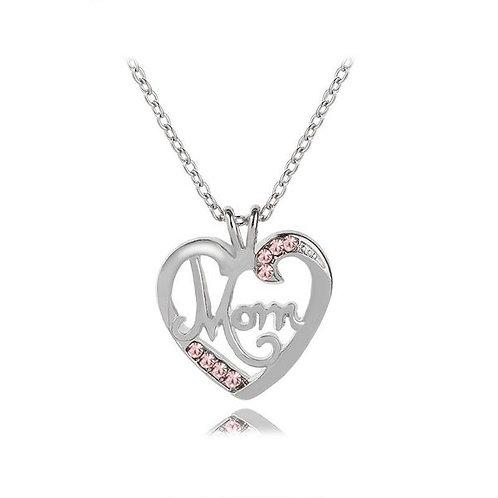 Mom Love Diamond Pendant Necklace Pink