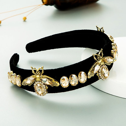 Bee Diamond-Studded Gold Velvet Headband LC