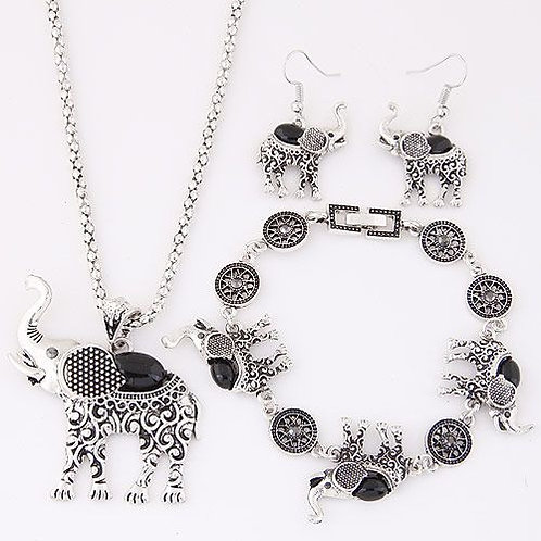 Baby Elephant Temperament Necklace Earrings Bracelet Set B