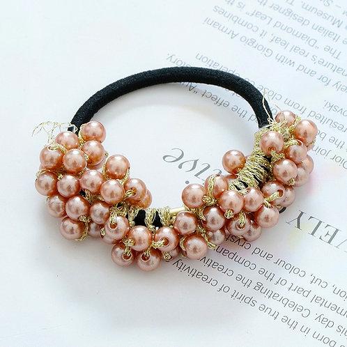 Beaded Pearl Hair Ring Rose