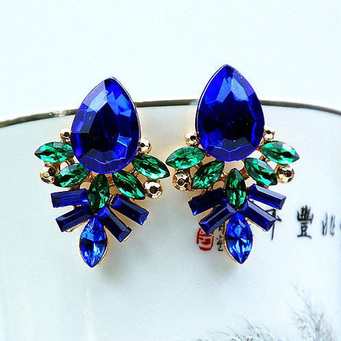 Golden Blue Gemstone Earrings