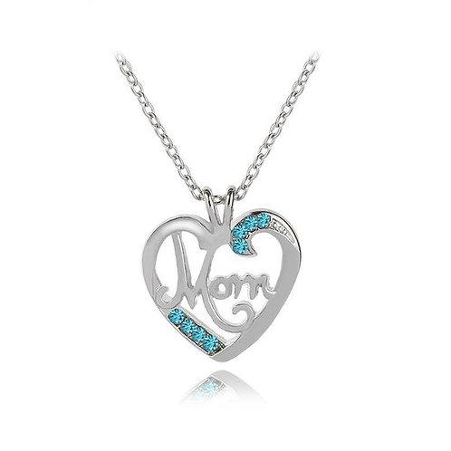 Mom Love Diamond Pendant Necklace Blue