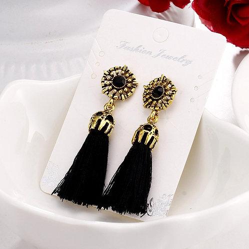 Retro Fashion Tassels Earrings Black
