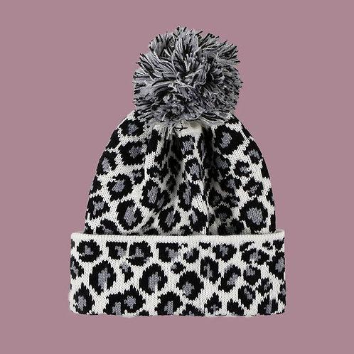 Leopard Fur Ball Warm Knit Woolen Hat W