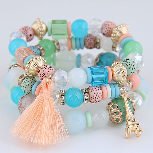 Tower Tassel Candy Beads Bracelet C