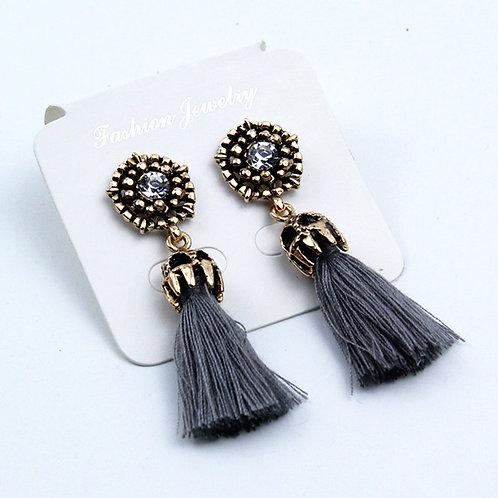 Retro Fashion Tassels Earrings Grey