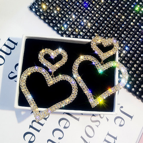 Needle Diamond Heart Earrings G