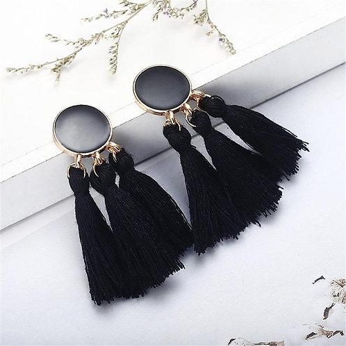 Long Dripping Tassel Earrings Black
