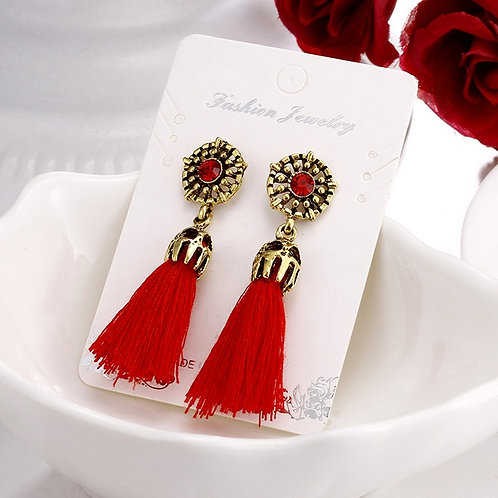 Retro Fashion Tassels Earrings Red