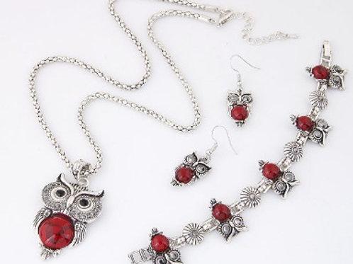 Owl Temperament Necklace Earrings Bracelet Set R