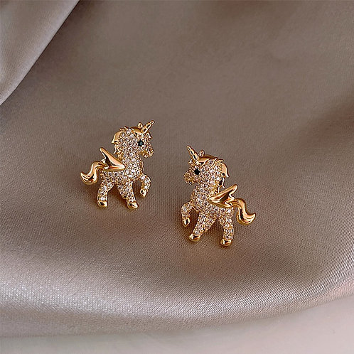 Diamond Horse Stud Earrings