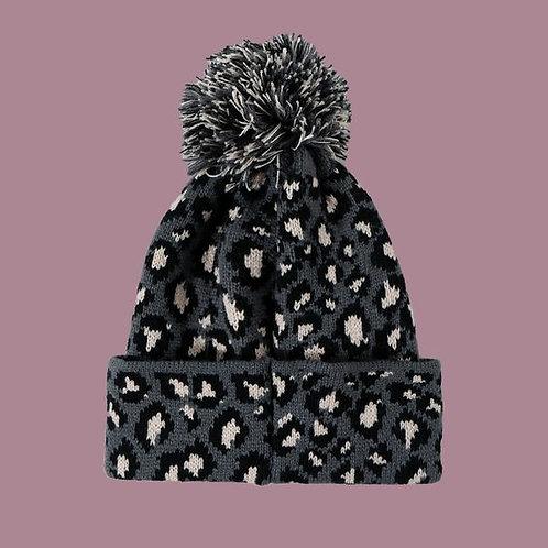 Leopard Ball Warm Knit Woolen Hat B