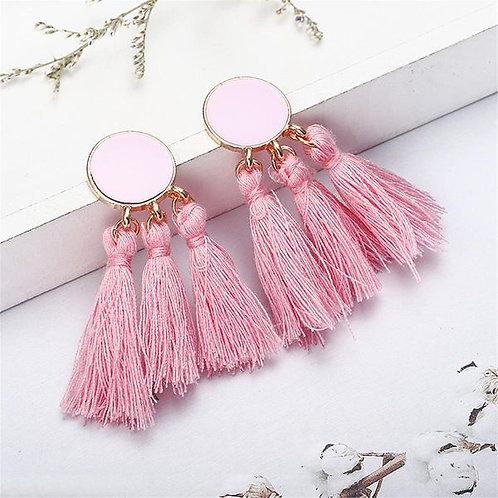 Long Dripping Tassel Earrings Pink