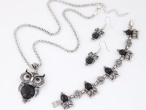 Owl Temperament Necklace Earrings Bracelet Set BK
