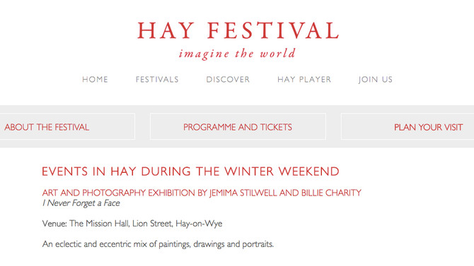 'I Never Forget a Face' - Photo and Art Exhibition, Hay Festival Winter Weekend