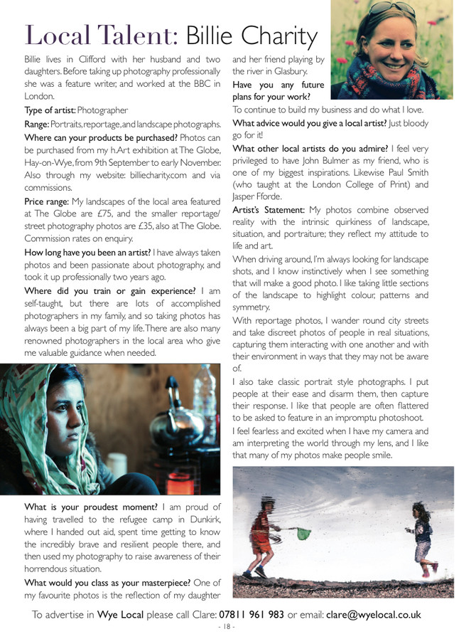 An interview with Wye Local magazine