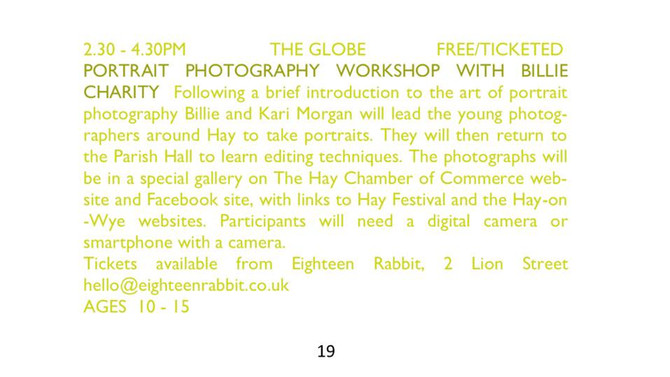 Portrait Photography Workshop - Hay-on-Wye