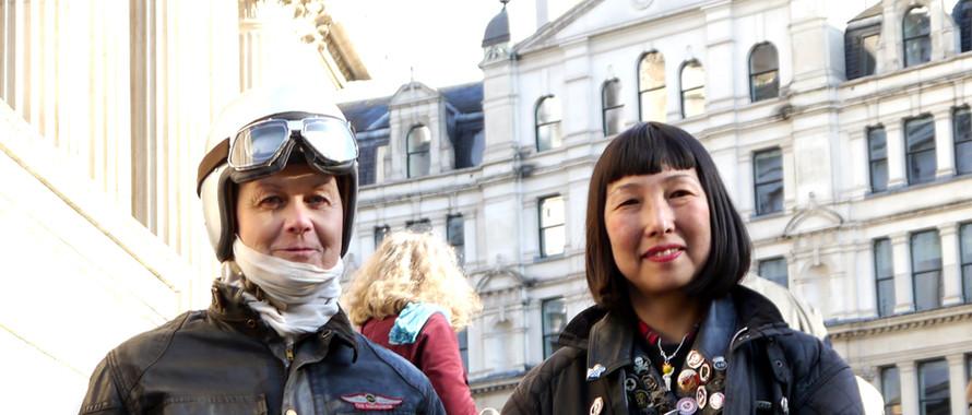 59 Club outside St Pauls Leather Girl Hiroko & Michaela