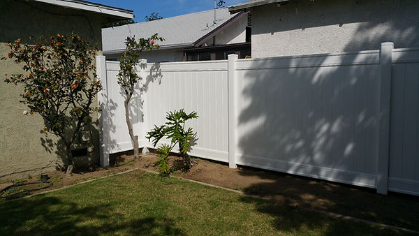 Back yard vinyl fencing from Lowes