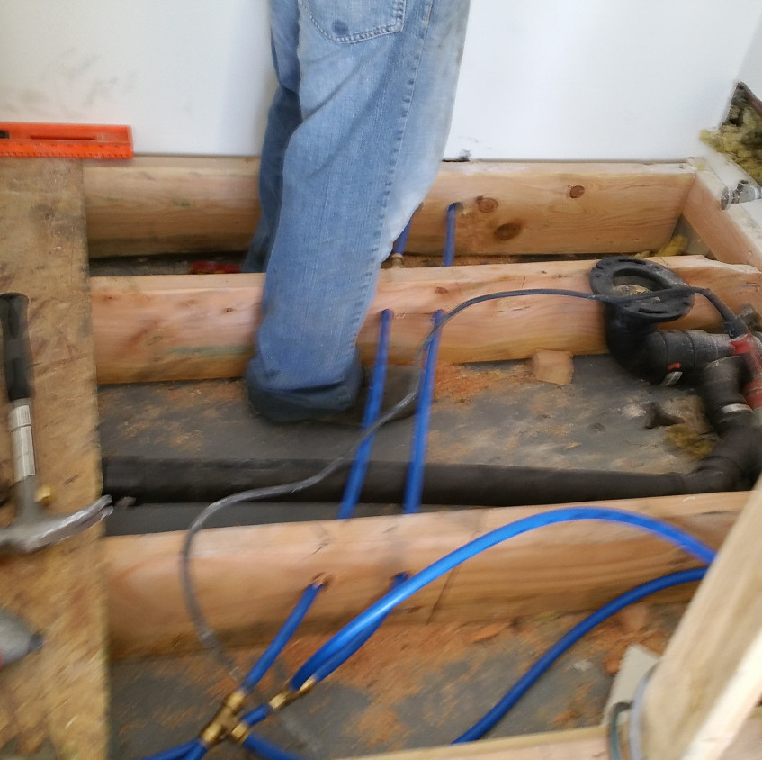 This is a perfect application to use PEX tubing. Fast and Efficient.