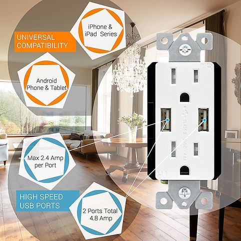 USB ports, electrical outlets, installation, Appease Builders
