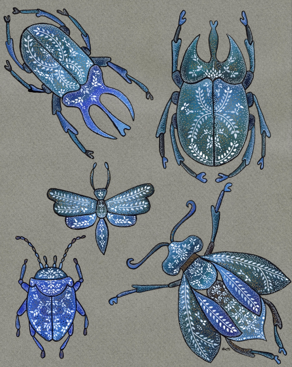 Page of Insects by Harriet Lloyd