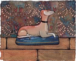 Staffordshire Greyhound Lying by Harriet Lloyd