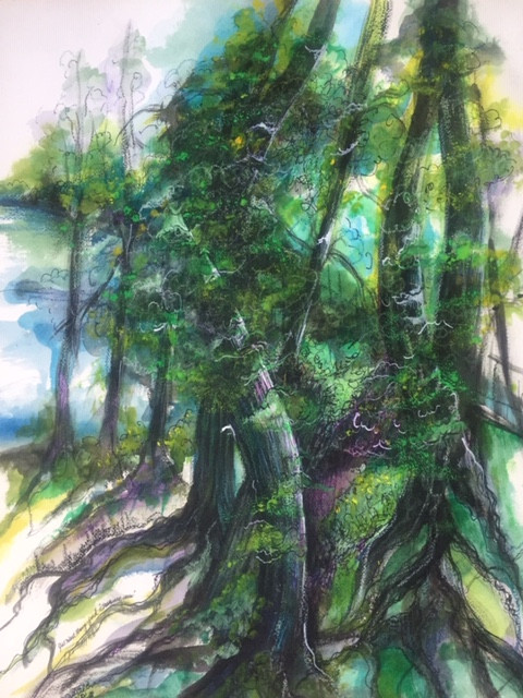 """""""Summer Tree's"""" Watercolor 24x18. Original and prints available."""