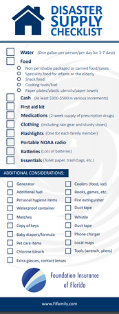 Distaster suply checklist