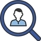 Magnifying glass icon, about us