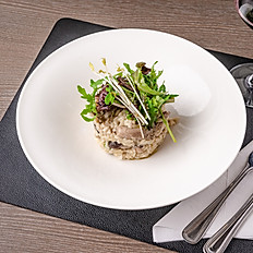 vegetarische risotto met boschampignons en scampi's