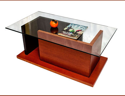 MO Coffee table.it is 1100X600X430MMH with a 14mm tempered glass top. Available in Wenge (brown) cherry and white laminate.