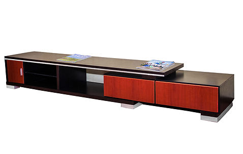 The 2400X320X420mmH entertainment unit is made of laminated plywood and consist of 2 drawers, storage compartment, glass shelf , inox strip and leg. Available in cherry and wenge laminate.