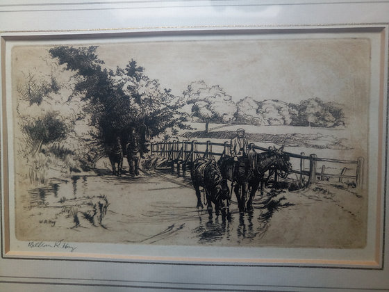 William R Hay early 20th century etching - Signed