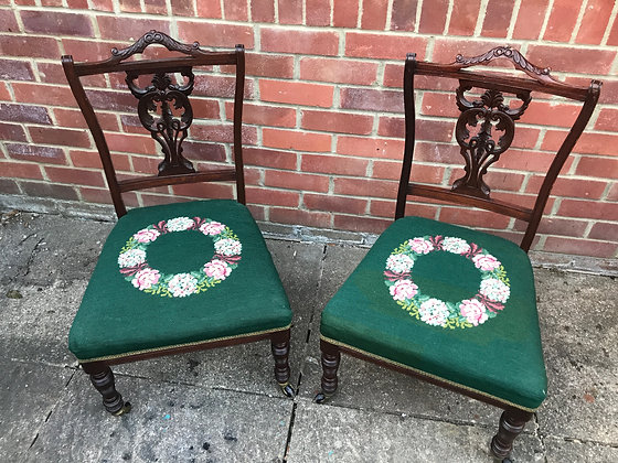 A Pair of small Georgian style Bedroom chairs on castors.
