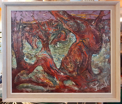 Nice Impasto. Leo Jewell 20th century abstract oil on canvas.
